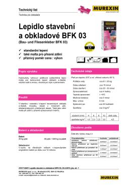 Lepidlo stavební a obkladové BFK 03 (Bau- und