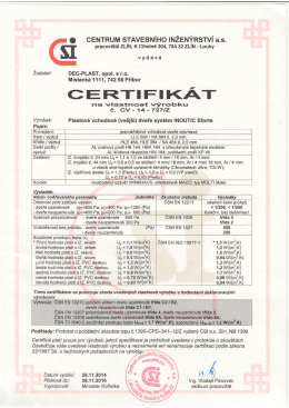 Certifikát o vlastnostech výrobku – dveře