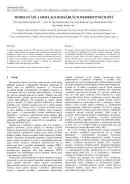 modelování a simulace rozsáhlých memristivních sítí