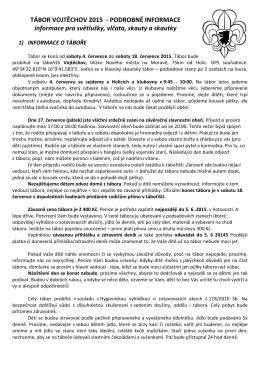 TÁBOR VOJTĚCHOV 2015 - PODROBNÉ INFORMACE