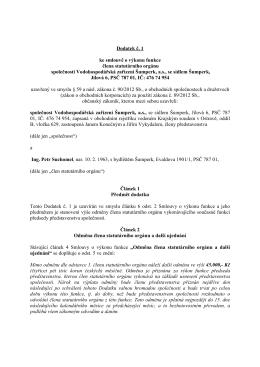 Dodatek č.1 ke smlouvě o výkonu funkce Ing. Suchomel