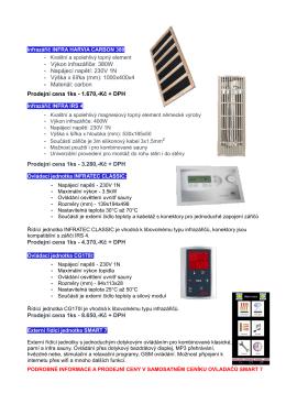 • Výkon infrazářiče: 380W • Napájecí napětí: 230V 1N • Výška x šířka