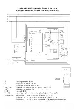 Elektrické schéma zapojení kotle 9 K a 12 K