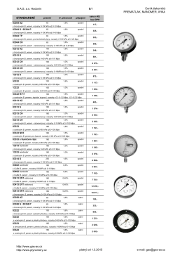 Ceník tlakoměrů a jejich příslušenství PREMATLAK