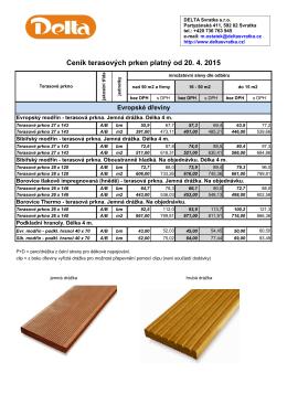 Ceník terasových prken platný od 20. 4. 2015