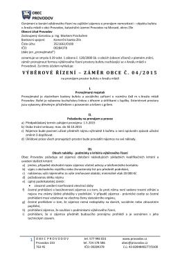 Záměr obce Provodov č. 04/2015