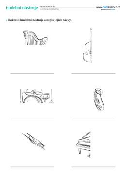 Dokresli hudební nástroje a napiš jejich názvy.