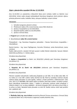 Zápis z plenárního zasedání dne 12. 10. 2015