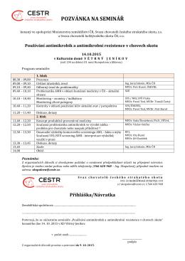 Program semináře AMR v chovech skotu