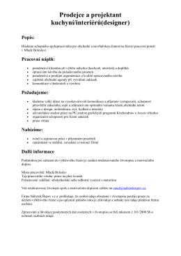 Prodejce a projektant kuchyní/interiérů(designer) Popis
