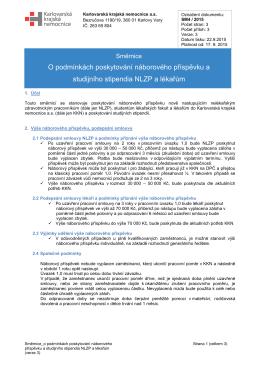 Směrnice O podmínkách poskytování náborového příspěvku a