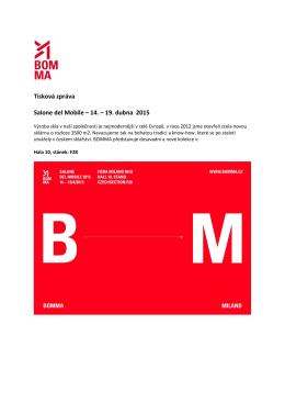 Tisková zpráva Salone del Mobile – 14. – 19. dubna 2015