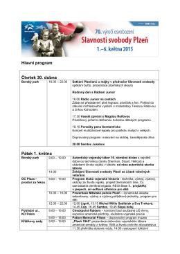 Hlavní program Čtvrtek 30. dubna Pátek 1. května