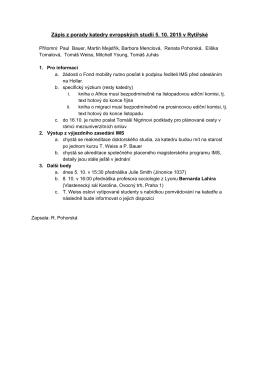Zápis z porady katedry evropských studií 5. 10. 2015 v Rytířské