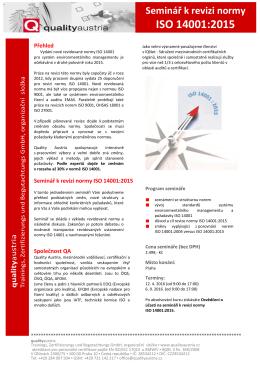 Seminář k revizi normy ISO 14001:2015