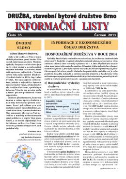 Informační list č.35 - DRUŽBA, stavební bytové družstvo