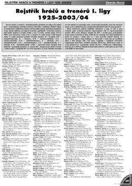 Rejstřík hráčů a trenérů I. ligy