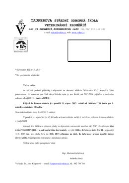 Hlavičkový dopisní papír - Tauferova střední odborná škola