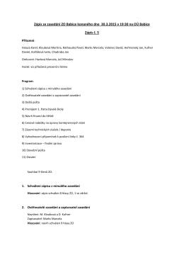 Zápis ze zasedání ZO Babice konaného dne 30.3.2015 v 19:30 na