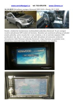 Aktualizace navigace Kenwood DNX 5240 v