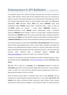 Dokumentace k API Balíkobot v1.70 2015-12-04