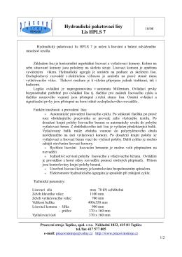 Hydraulické paketovací lisy Lis HPLS 7