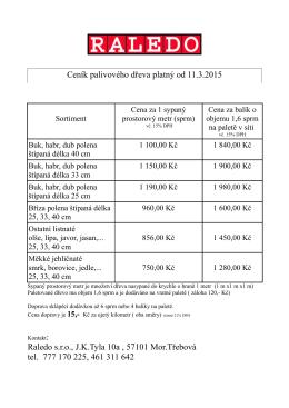 Ceník palivového dřeva platný od 11.3.2015 Raledo s.r.o., J.K.Tyla