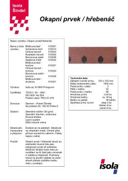 Technický list Okapní prvek / hřebenáč