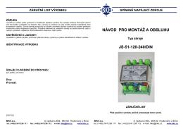 NÁVOD PRO MONTÁŽ A OBSLUHU JS-51-120-240/DIN
