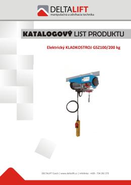 Elektrický KLADKOSTROJ GSZ100/200 kg