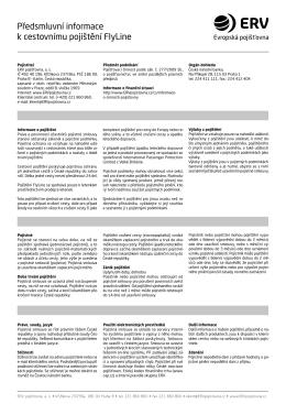 Předsmluvní informace k cestovnímu pojištění FlyLine