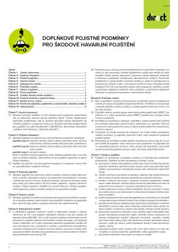 Doplňkové pojistné podmínky pro škodové havarijní pojištění