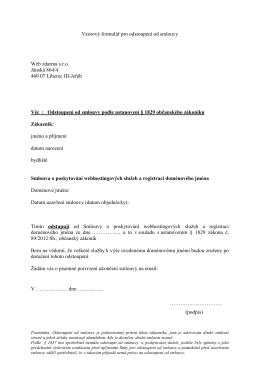 Vzorový formulář pro odstoupení od smlouvy Web zdarma s.r.o.