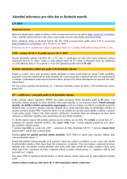 Aktuální informace pro sběr dat ze školních matrik