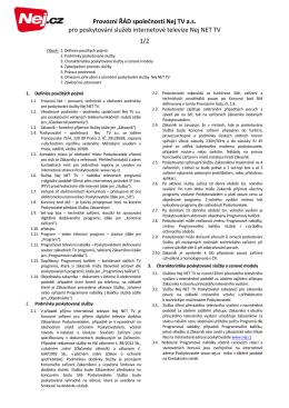 Provozní ŘÁD společnosti Nej TV a.s. pro poskytování