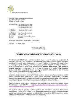 Veřejná vyhláška - Oznámení o vydání opatření obecné povahy