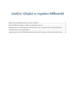 Analýzy týkající se regulace billboardů