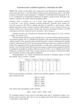 Vyhodnocování výsledků krajských a ústředních kol MO MŠMT ČR