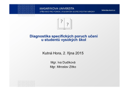 Diagnostika specifických poruch učení u studentů vysokých škol