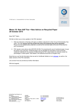 Memo 10: New AAF Fee + New Advice on