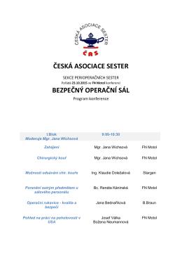 ČESKÁ ASOCIACE SESTER BEZPEČNÝ OPERAČNÍ SÁL