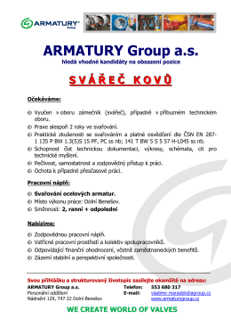 SV Á Ř E Č KOV Ů - ARMATURY Group a.s.