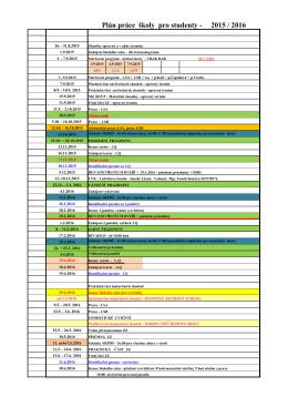 Plán práce školy pro studenty