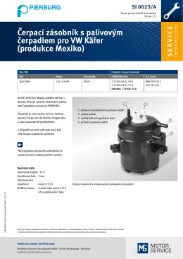 Čerpací zásobník s palivovým čerpadlem pro VW Käfer (produkce