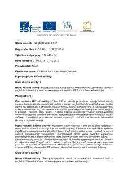 Název projektu : Angličtina na COP Registrační číslo: CZ.1.07/1.1.00