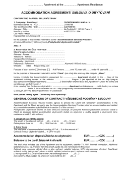 accommodation agreement/ smlouva o ubytování - Prague