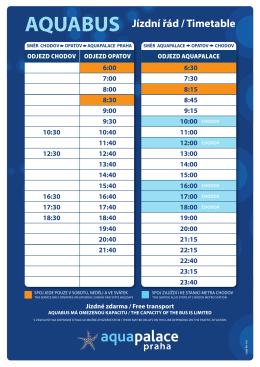 AQUABUS Jízdní řád / Timetable