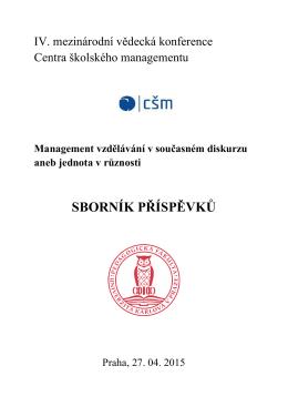 Sborník příspěvků IV. ročníku konference CŠM - Csm