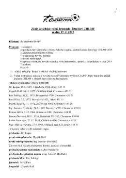 Zápis ze schůze valné hromady letní ligy CHLMF ze dne 17. 2. 2015