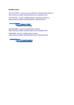 Nabídka práce: 1) LKW WALTER - pracovna ponuka:Manazer